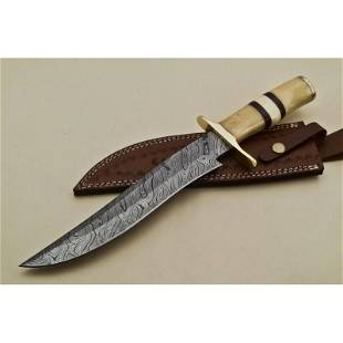 Bowie damascus steel knife hunting brass camel bone