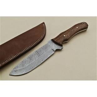 Hiking damascus steel knife handmade hunting wood