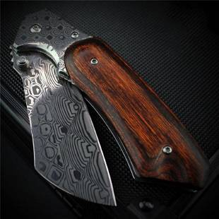 Survival Damascus steel knife wood handmade inner