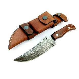 Full tang damascus steel knife bowie buffalo bone wood