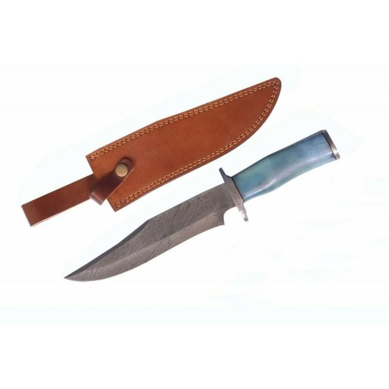 Everyday carry hunting damascus steel knife bowie bone