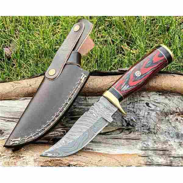 Hiking work damascus steel knife survival resin brass