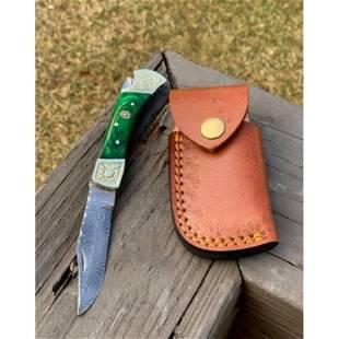 Folding everyday carry damascus steel knife pocket wood