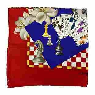 Vintage Leonard Multicolored Silk Game Scarf