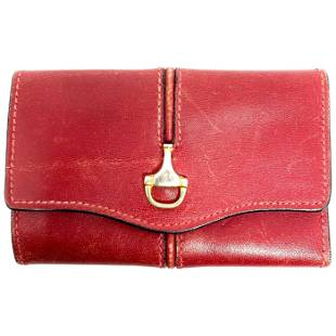 1960s GUCCI Red Leather Key Holder Tri- Fold Wallet