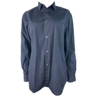 Comme des Garcons Navy Cotton Button Down Shirt Blouse,