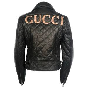 GUCCI Brown Leather Moto Jacket w/ Pearls Size 44