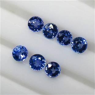 2.66 Ctw Natural 7 Ceylon Blue Sapphire Round Necklace