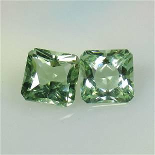 5.07 Ct Natural Green Amethyst Octagon Pair
