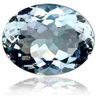 Natural Aquamarine 0.90ct Oval AA Sky Blue. Silve with