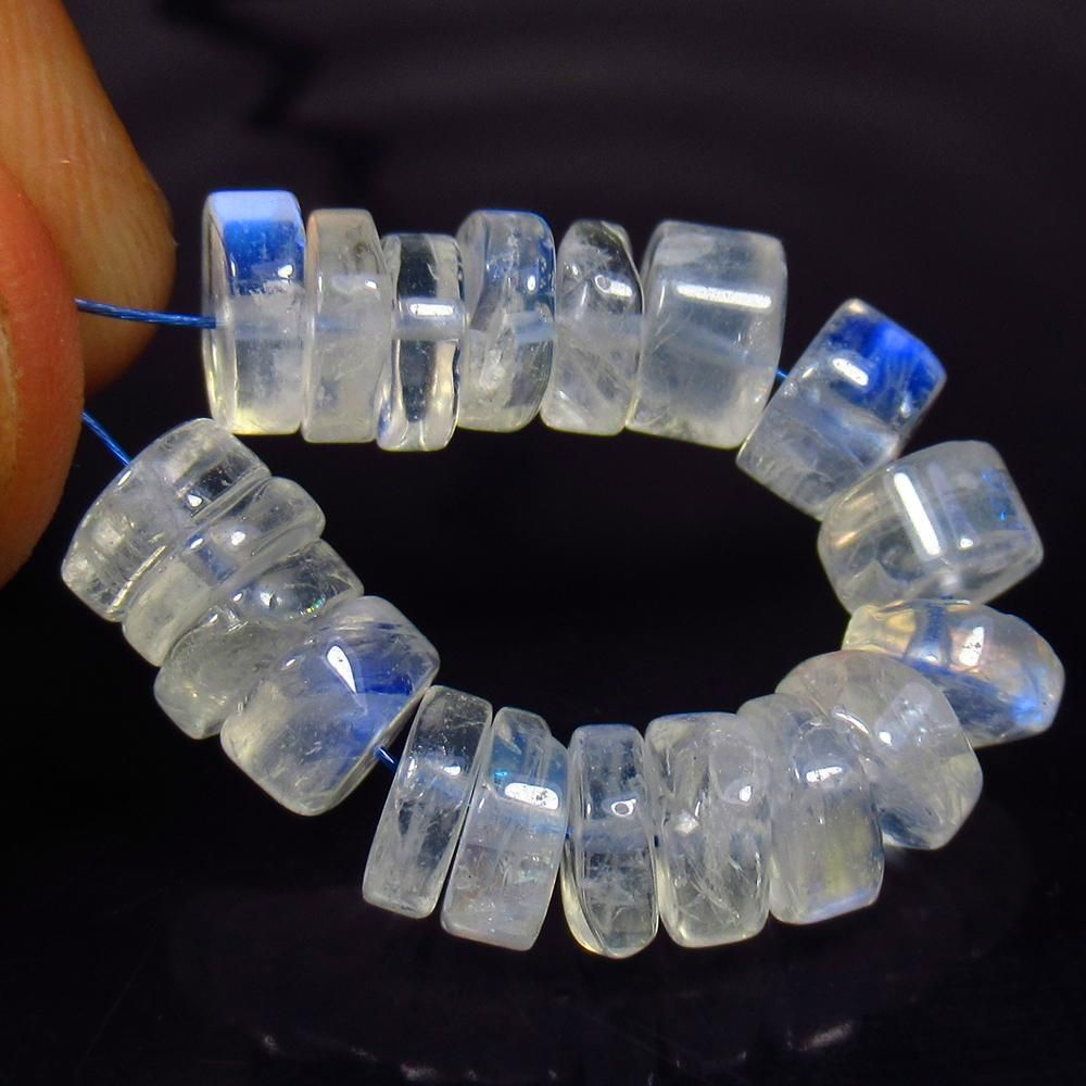 22.46 Ctw Natural 19 Drilled Blue Moonstone Round Beads