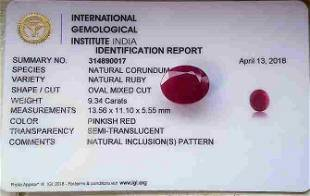 Natural Ruby IGI Report Unheated 9,34 ct