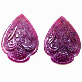 44.10 Cts Unheated Pair Of Fancy Ruby
