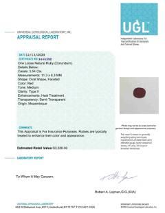 UGL CERT 3.54ct Natural Loose Ruby