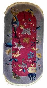 Handmade antique Art Deco Chinese rug 2.1' x 3.10'