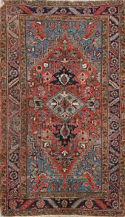 Antique Vegetable Dye Heriz Persian Area Rug 4x6