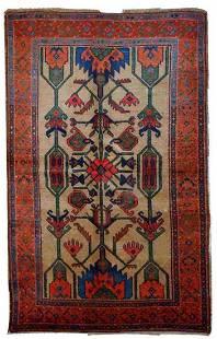 Handmade antique Persian Kurdish rug 4' x 6' ( 122cm x