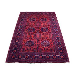 Afghan Khamyab Vibrant Wool Saturated Red Hand Knotted