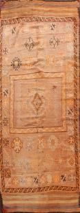 Antique Geometric Moroccan Oriental Runner Rug 5x12