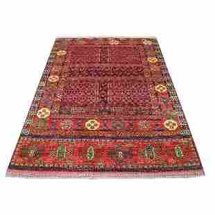 Hand Knotted Afghan Ersari Hutchlu Red With Pop Of