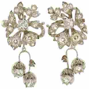 Art Deco Diamond Palladium Dangle Earrings