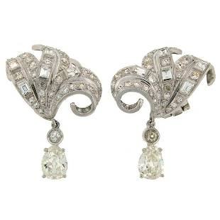 Art Deco Diamond Platinum Clip-On Earrings