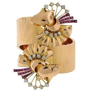Retro Diamond Ruby Rose Gold Platinum Bangle Bracelet