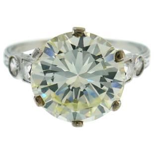 Art Deco Diamond Platinum Solitaire Ring, 5.26 Carat