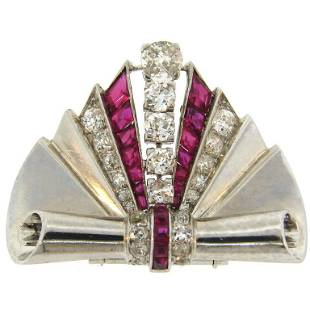 1930s Van Cleef & Arpels Diamond Ruby Platinum Clip Pin