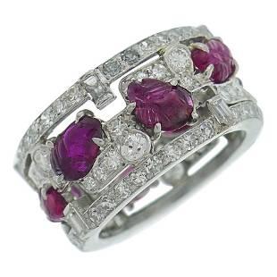 Art Deco Style Tutti-Frutti Band Ring Ruby Diamond