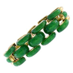 Marsh & Co. Jade 14k Yellow Gold Retro Bracelet