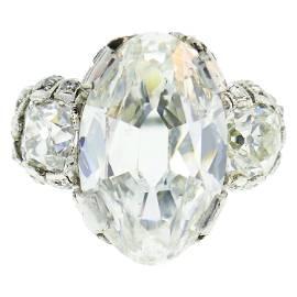 Art Deco 10.03 Carat Diamond GIA Platinum Ring