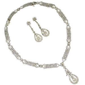 Art Deco Diamond Platinum Necklace Earrings Bracelets