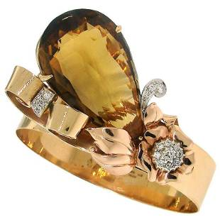 Vintage Birks 14k Yellow Gold Retro Bracelet Citrine