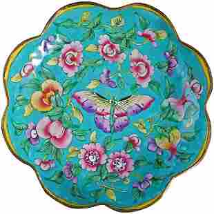 Chinese Enameled Foliate Rim Metal Dish with Butterfly