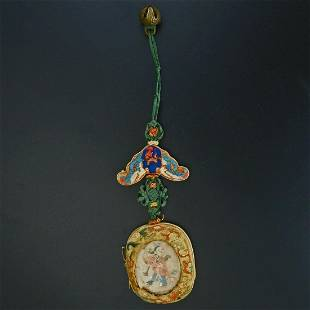 Chinese fabric, bell and glass hanging ornament 19th
