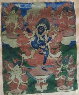 Antique thangka - Mahakala