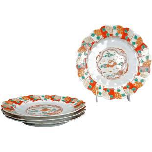 Set of Four Japanese Kutani Plates With Dragon and