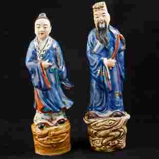 Pair of Chinese porcelain immortal figures riding