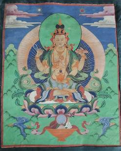 Antique Thangka - Avalokite?vara