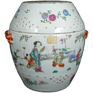 Chinese Polychrome Lidded Barrel Shaped Jar Late