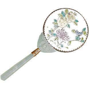 Chinese vintage hardstone and Porcelain Vanity Mirror