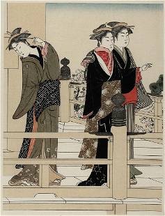 attr. to KIYONAGA, Torii: Three women on a verandah