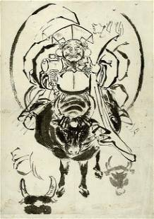 HOKUSAI school (attr. to): The god of Good Fortune,
