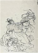 KUNIYOSHI, Utagawa: The attack - scene from a kabuki