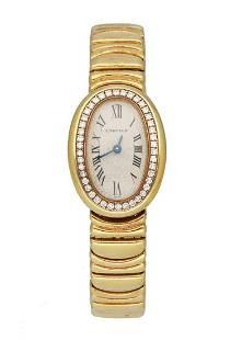 Cartier Baignoire 1960 18K Yellow Gold Diamond Ladies