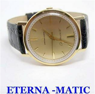 14k ETERNA-MATIC CENTENAIRE 61 Watch c.1970s Cal.1428U*