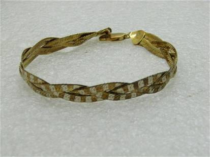 Reversible Sterling Herringbone Bracelet, Braided