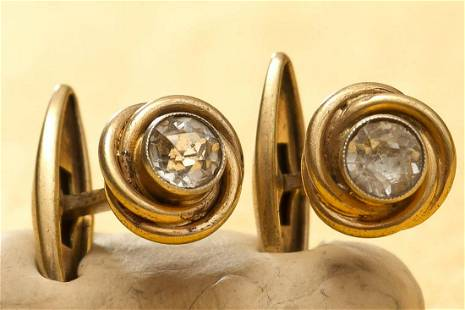 Cufflinks with crystal stone silver 875 stamped 0,28 oz