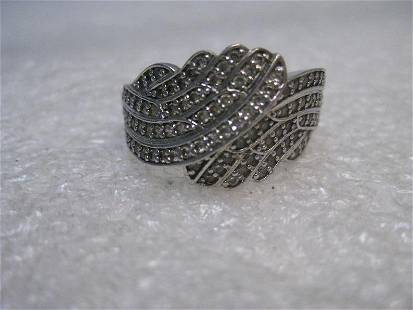 Sterling Silver Bypass CZ Ring, size 9.5, 13mm wide,